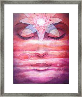 Framed Print featuring the painting Lotus Meditation, Jupiter Clouds by Sue Halstenberg