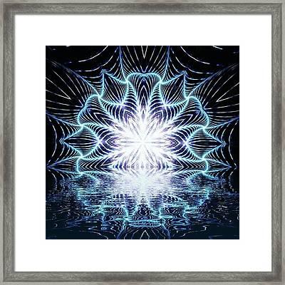 Lotus Rising #kaleidoscope #mandala Framed Print by Michal Dunaj
