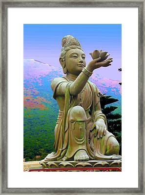 Lotus Statue Framed Print by Adina Campbell
