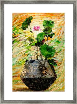 Lotus Tree In Big Jar Framed Print by Atiketta Sangasaeng