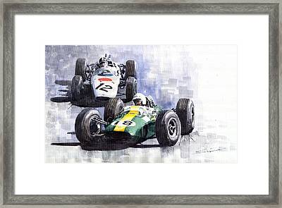 Lotus Vs Honda Mexican Gp 1965 Framed Print by Yuriy  Shevchuk