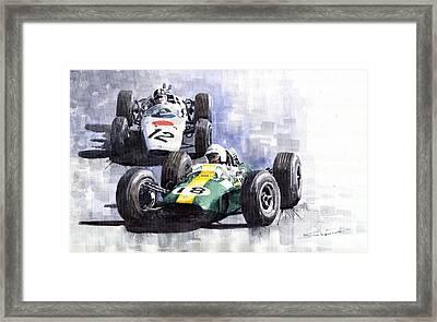 Lotus Vs Honda Mexican Gp 1965 Framed Print by Yuriy  Shevchuk