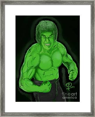 Lou Ferrigno's Hulk Framed Print by Joseph Burke