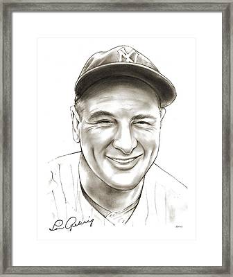 Lou Gehrig Framed Print by Greg Joens