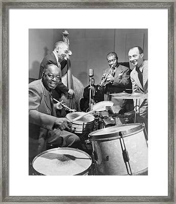 Louis Armstrong 1901-1971, Playing Framed Print by Everett