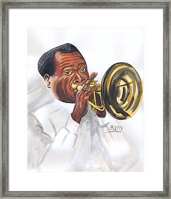 Framed Print featuring the painting Louis Armstrong by Emmanuel Baliyanga