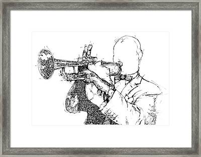 Louis Armstrong Ink Portrait Framed Print by Pablo Franchi