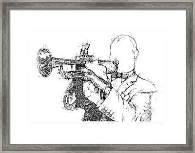 Louis Armstrong Ink Portrait Framed Print