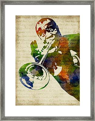 Louis Armstrong Watercolor Framed Print by Mihaela Pater