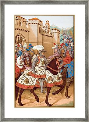 Louis Xii And His Army Leaving Framed Print by Vintage Design Pics