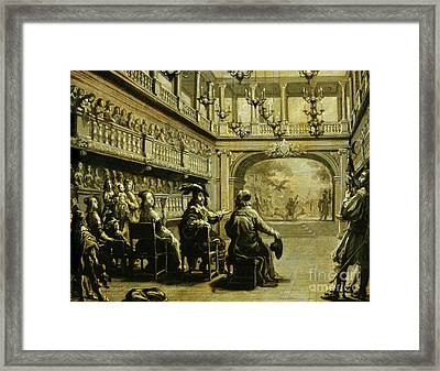 Louis Xiii, Anne Of Austria And Cardinal Richelieu At The Production Of Mirame Framed Print
