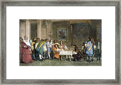 Louis Xiv & Moliere Framed Print by Granger