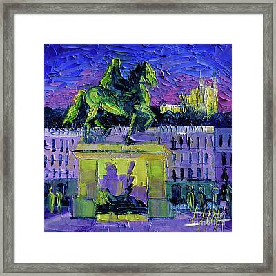 Louis Xiv - Bellecour Square By Night Lyon Framed Print