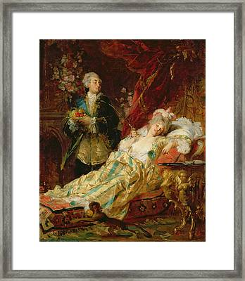 Louis Xv And Madame Dubarry Framed Print by  Gyula Benczur