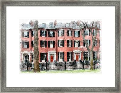 Louisburg Square Beacon Hill Boston Framed Print by Edward Fielding