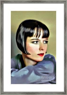 Louise Brooks, Vintage Actress, Digital Art By Mary Bassett Framed Print