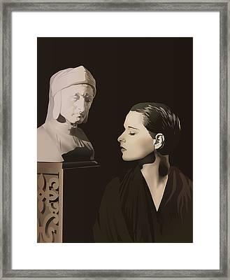 Louise Brooks With Bust Of Dante Alighieri  Framed Print by Vintage Brooks