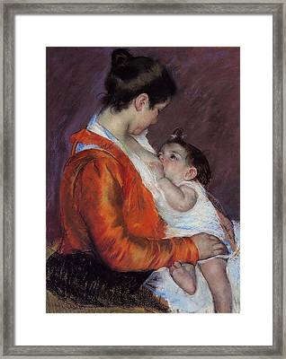 Louise Nursing Her Child Framed Print by Marry Cassatt