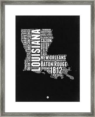 Louisiana Black And White Word Cloud Map Framed Print