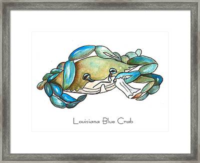 Louisiana Blue Crab Framed Print by Elaine Hodges