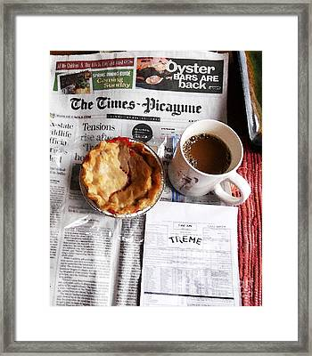 Louisiana Breakfast Aka Treme Script Framed Print by John Keasler