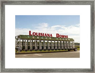 Louisiana Downs Entrance Sign On Starting Gate Framed Print
