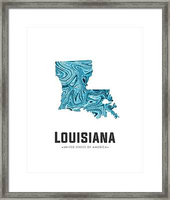Louisiana Map Art Abstract In Blue Framed Print