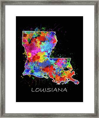 Louisiana Map Color Splatter 2 Framed Print