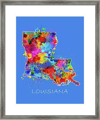 Louisiana Map Color Splatter 3 Framed Print
