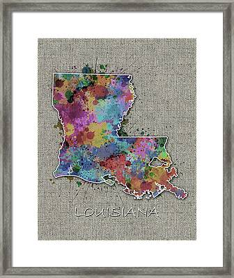 Louisiana Map Color Splatter 5 Framed Print