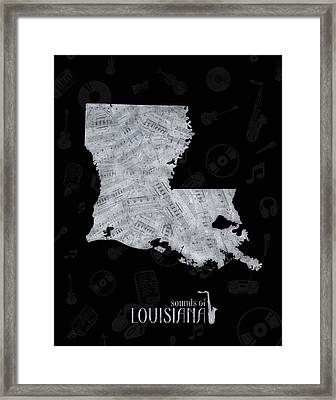 Louisiana Map Music Notes 2 Framed Print