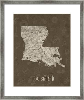 Louisiana Map Music Notes 3 Framed Print