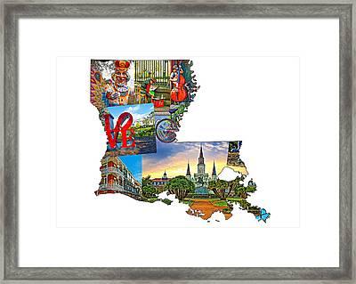 Louisiana Map - New Orleans Framed Print by Steve Harrington