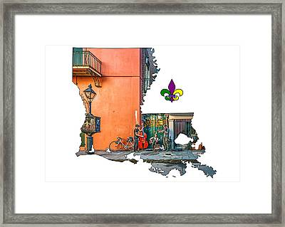 Louisiana Map - The French Quarter Framed Print