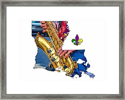 Louisiana Map - The Sax Man Framed Print by Steve Harrington