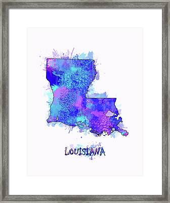 Louisiana Map Watercolor 2 Framed Print