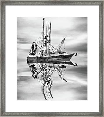 Louisiana Shrimp Boat 4 Bw Framed Print