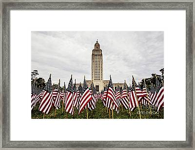 Louisiana State Capitol Dressed For Memorial Day Framed Print