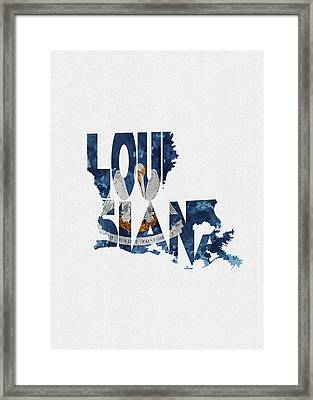 Louisiana Typographic Map Flag Framed Print