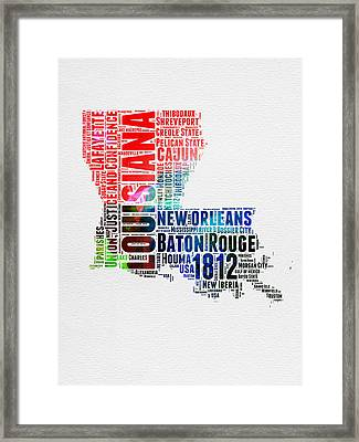 Louisiana Watercolor Word Cloud Map  Framed Print