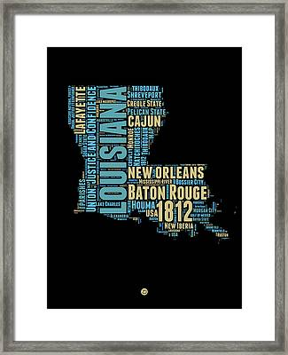 Louisiana Word Cloud Map 1 Framed Print