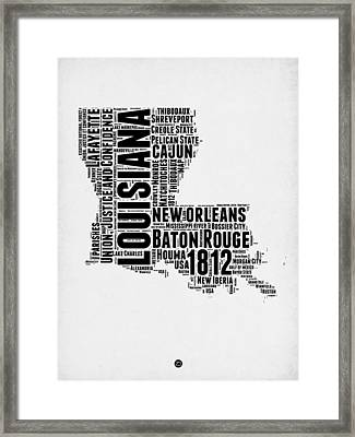 Louisiana Word Cloud Map 2 Framed Print