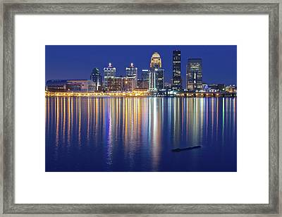 Louisville During Blue Hour Framed Print by Frozen in Time Fine Art Photography