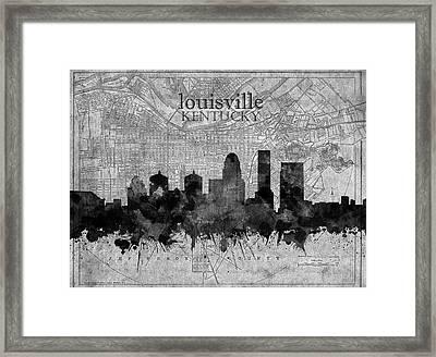 Louisville Kentucky Skyline Vintage 4 Framed Print
