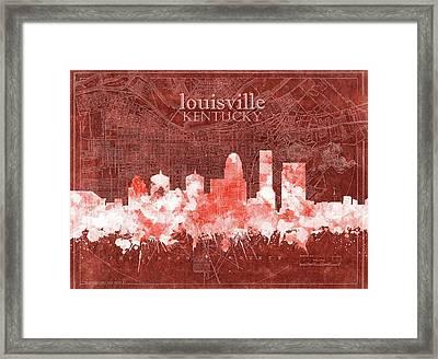 Louisville Kentucky Skyline Vintage 5 Framed Print