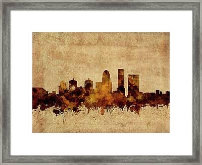 Louisville Kentucky Skyline Vintage Framed Print