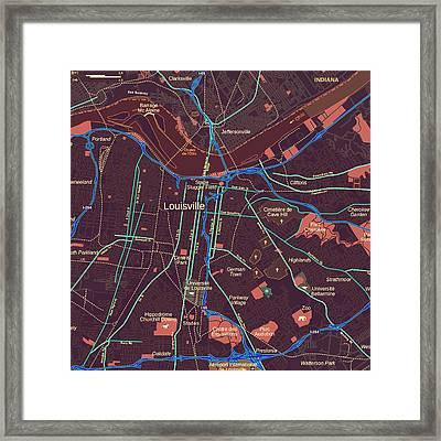 Louisville Map Framed Print by Brandi Fitzgerald