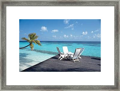 Lounge Chairs On The Beach Framed Print by Panoramic Images