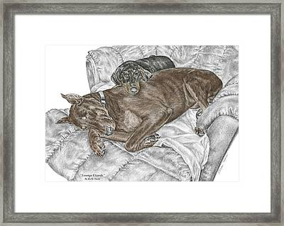 Lounge Lizards - Doberman Pinscher Puppy Print Color Tinted Framed Print by Kelli Swan