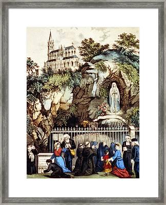 Lourdes, France, Pilgrims At The Shrine Framed Print by Everett